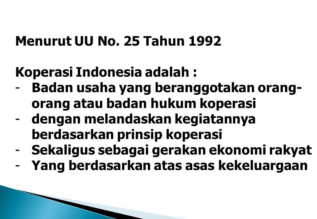 Menurut UU No. 25 Tahun 1992 Koperasi Indonesia adalah : Badan usaha yang beranggotakan orang-orang atau badan hukum koperasi.