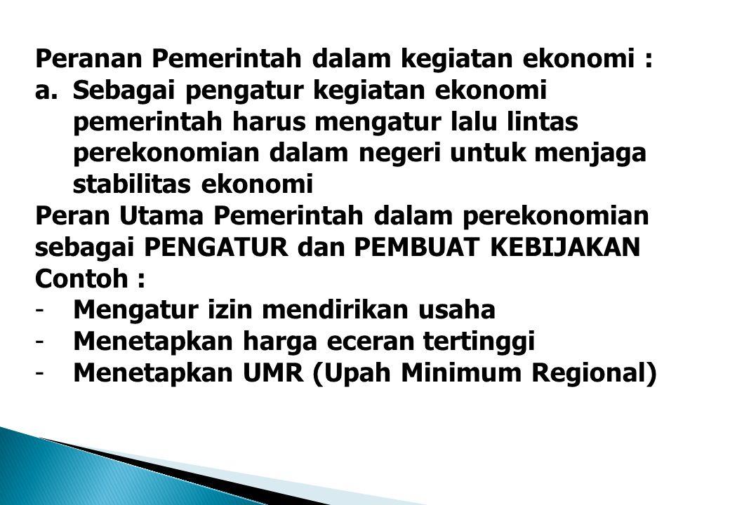 Peranan Pemerintah dalam kegiatan ekonomi :
