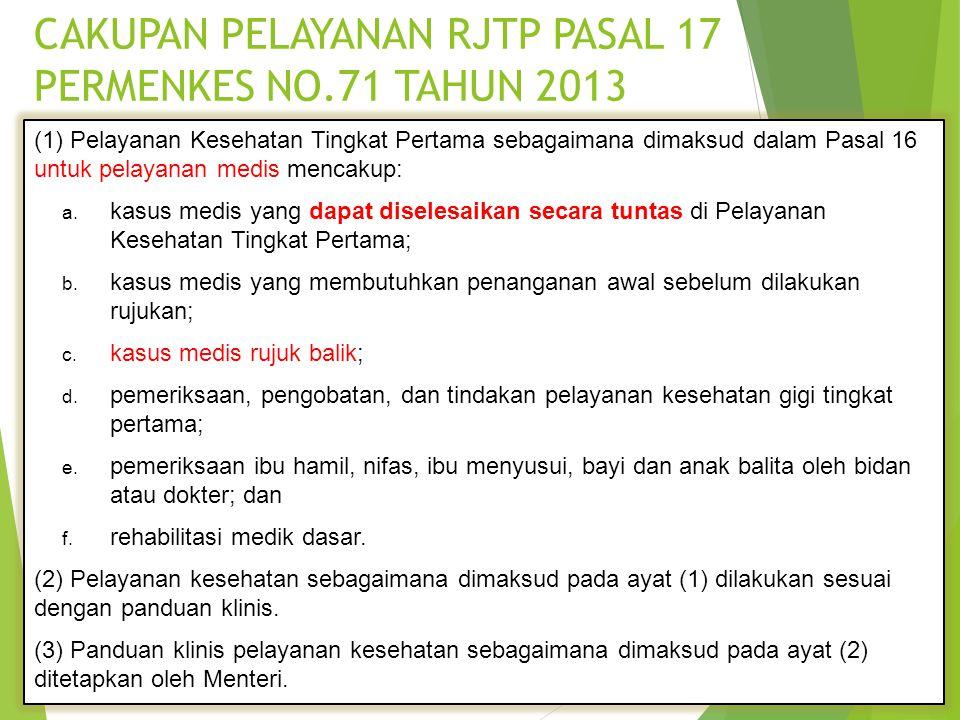 CAKUPAN PELAYANAN RJTP PASAL 17 PERMENKES NO.71 TAHUN 2013