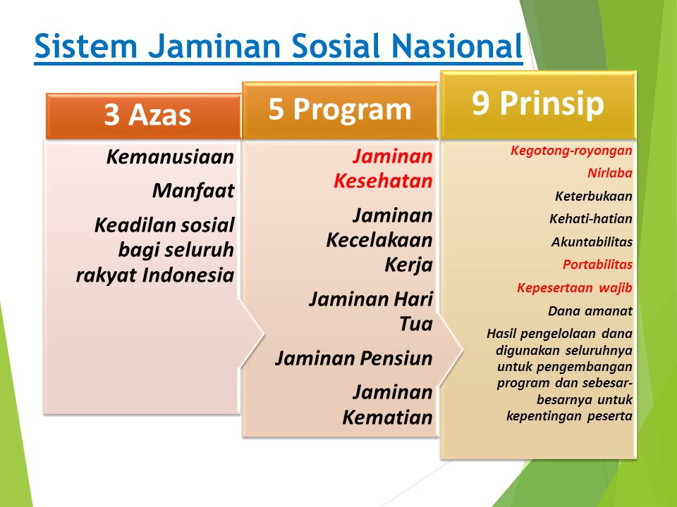 9 Prinsip Sistem Jaminan Sosial Nasional 5 Program 3 Azas