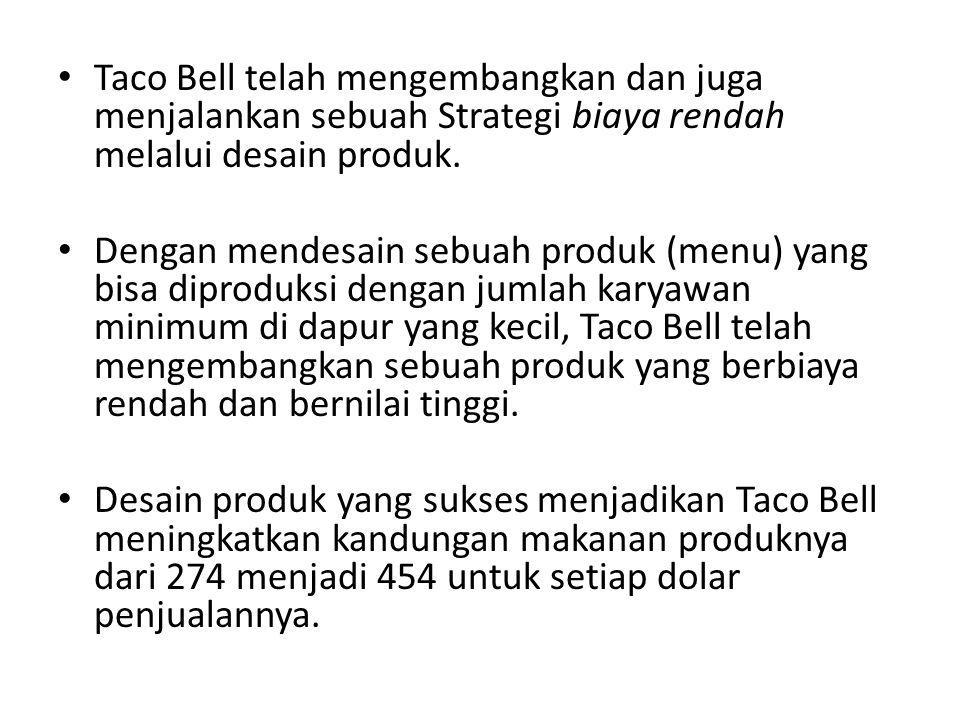 Taco Bell telah mengembangkan dan juga menjalankan sebuah Strategi biaya rendah melalui desain produk.