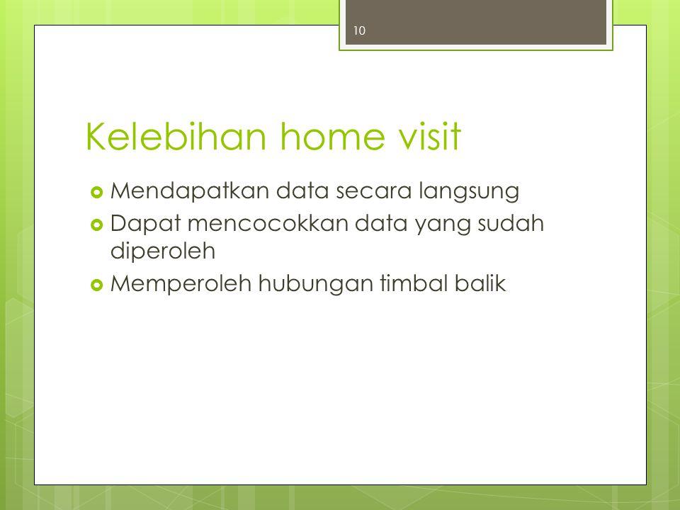 Kelebihan home visit Mendapatkan data secara langsung