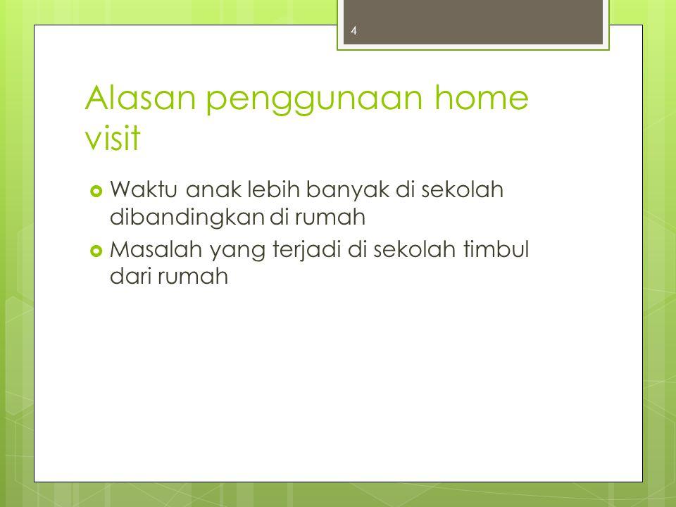 Alasan penggunaan home visit