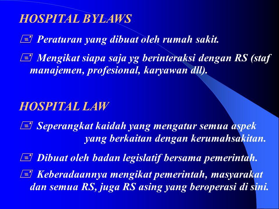HOSPITAL BYLAWS HOSPITAL LAW  Peraturan yang dibuat oleh rumah sakit.