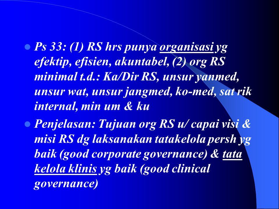 Ps 33: (1) RS hrs punya organisasi yg efektip, efisien, akuntabel, (2) org RS minimal t.d.: Ka/Dir RS, unsur yanmed, unsur wat, unsur jangmed, ko-med, sat rik internal, min um & ku