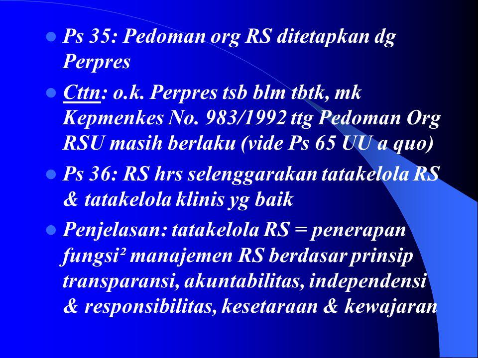 Ps 35: Pedoman org RS ditetapkan dg Perpres