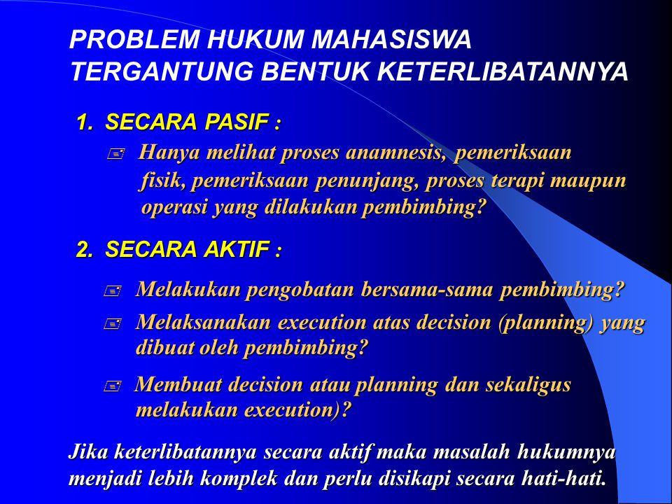 PROBLEM HUKUM MAHASISWA TERGANTUNG BENTUK KETERLIBATANNYA