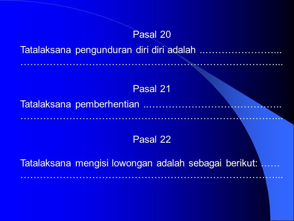 Pasal 20 Tatalaksana pengunduran diri diri adalah ..…………………... ……………………………………………………………………... Pasal 21.