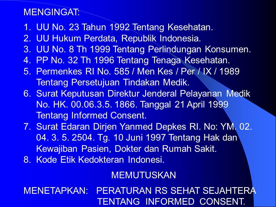 MENGINGAT: 1. UU No. 23 Tahun 1992 Tentang Kesehatan. 2. UU Hukum Perdata, Republik Indonesia.