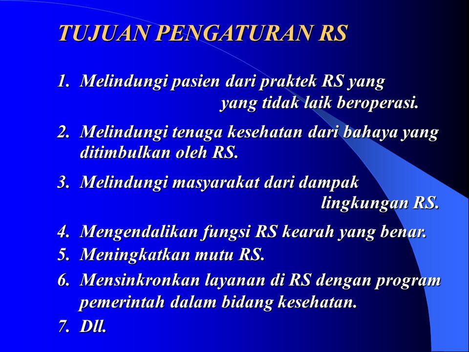TUJUAN PENGATURAN RS 1. Melindungi pasien dari praktek RS yang