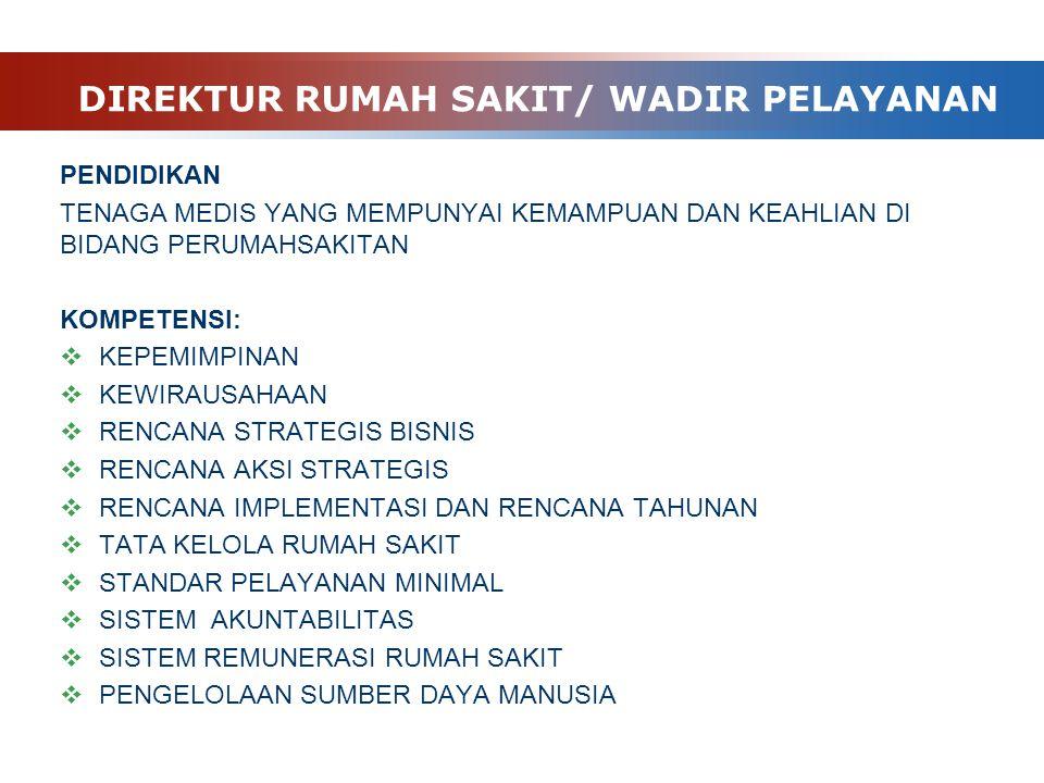 DIREKTUR RUMAH SAKIT/ WADIR PELAYANAN