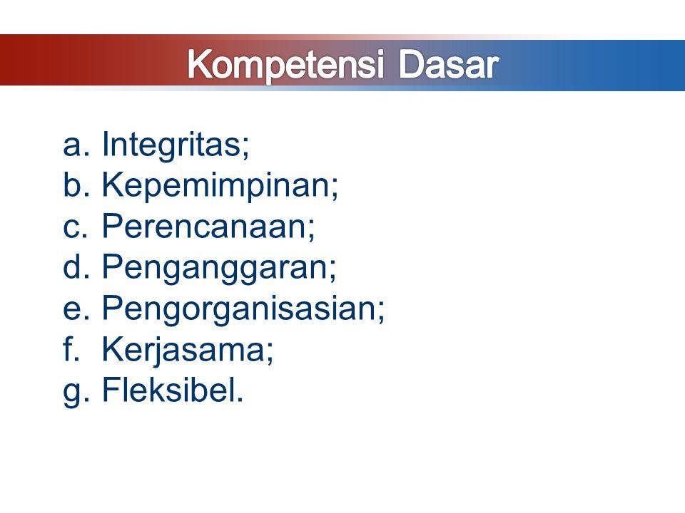 Kompetensi Dasar Integritas; Kepemimpinan; Perencanaan; Penganggaran;