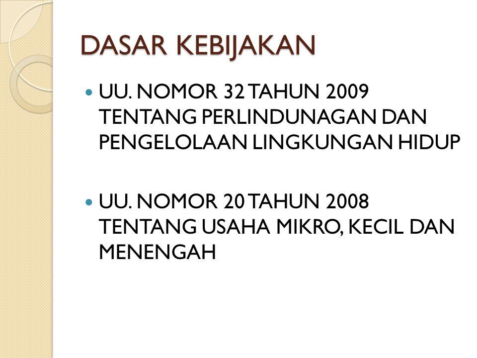 DASAR KEBIJAKAN UU. NOMOR 32 TAHUN 2009 TENTANG PERLINDUNAGAN DAN PENGELOLAAN LINGKUNGAN HIDUP.