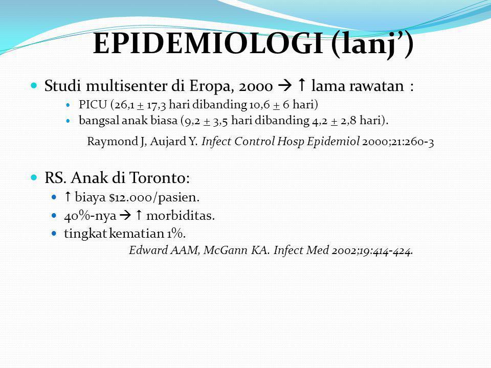 EPIDEMIOLOGI (lanj') Studi multisenter di Eropa, 2000   lama rawatan : PICU (26,1 + 17,3 hari dibanding 10,6 + 6 hari)