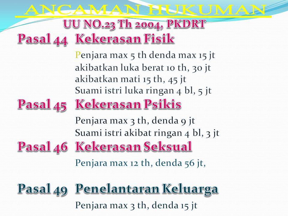 ANCAMAN HUKUMAN UU NO.23 Th 2004, PKDRT Pasal 44 Kekerasan Fisik
