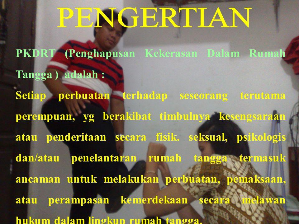 PENGERTIAN PKDRT (Penghapusan Kekerasan Dalam Rumah Tangga ) adalah :
