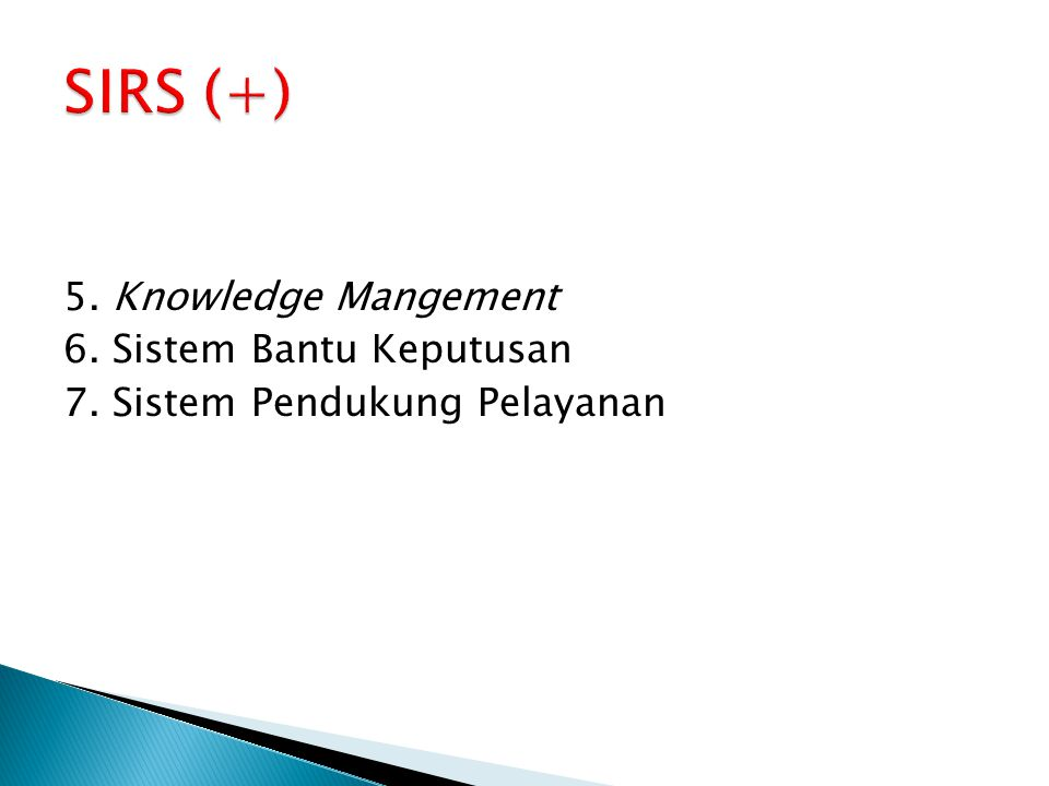 SIRS (+) 5. Knowledge Mangement 6. Sistem Bantu Keputusan