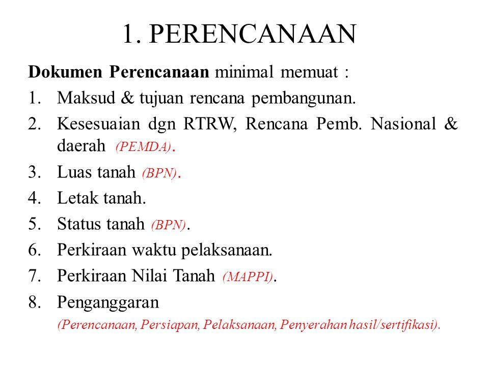 1. PERENCANAAN Dokumen Perencanaan minimal memuat :