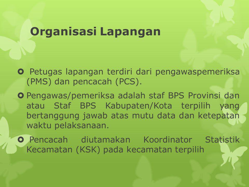 Organisasi Lapangan Petugas lapangan terdiri dari pengawaspemeriksa (PMS) dan pencacah (PCS).