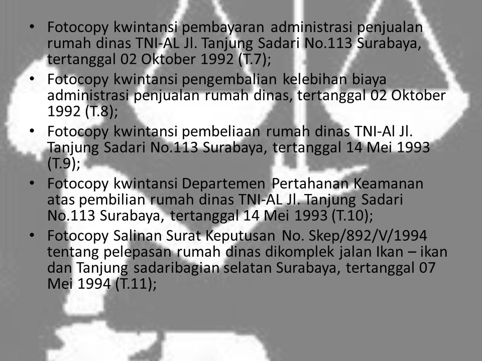 Fotocopy kwintansi pembayaran administrasi penjualan rumah dinas TNI-AL Jl. Tanjung Sadari No.113 Surabaya, tertanggal 02 Oktober 1992 (T.7);