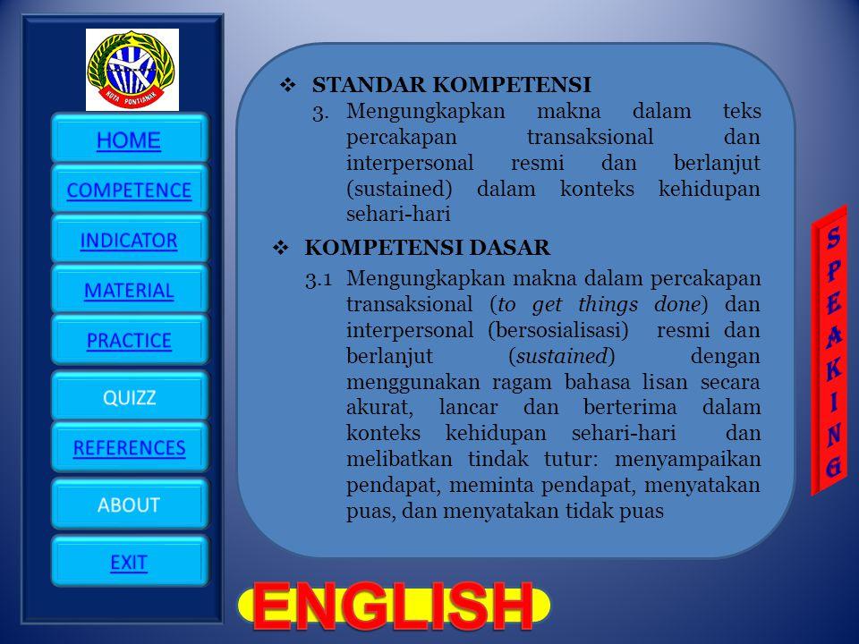 ENGLISH S P E A K I N G STANDAR KOMPETENSI