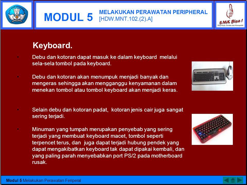 Keyboard. Debu dan kotoran dapat masuk ke dalam keyboard melalui sela-sela tombol pada keyboard.