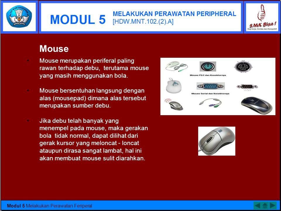Mouse Mouse merupakan periferal paling rawan terhadap debu, terutama mouse yang masih menggunakan bola.