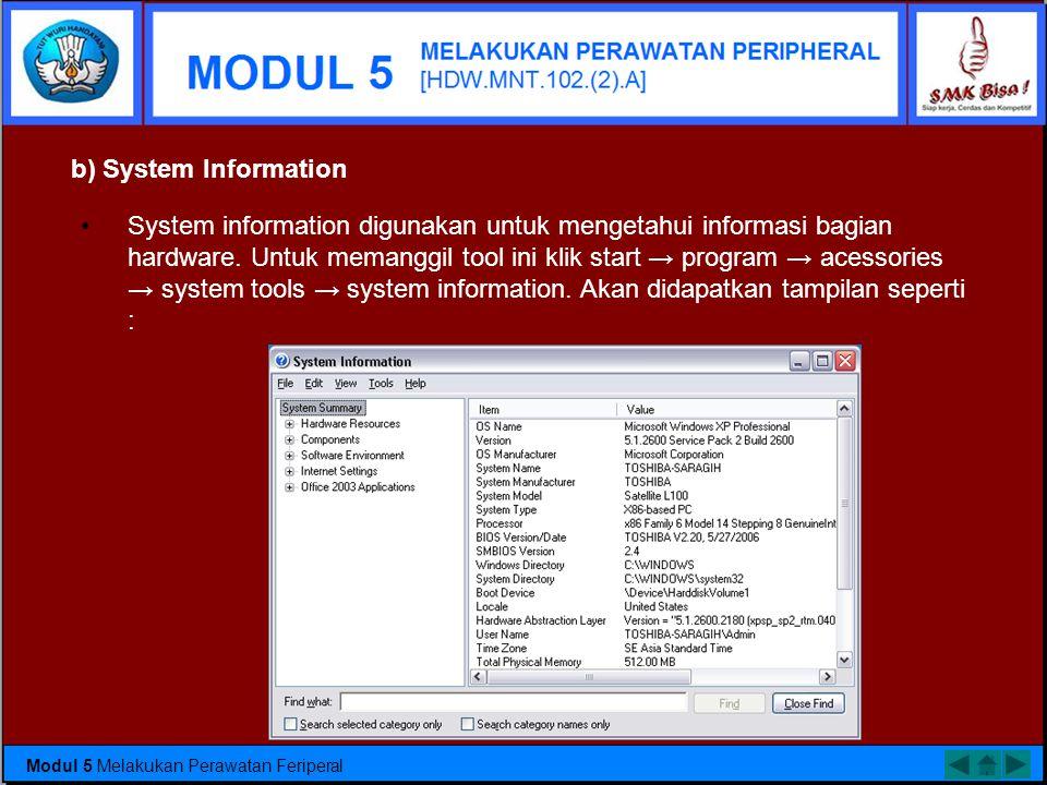 b) System Information