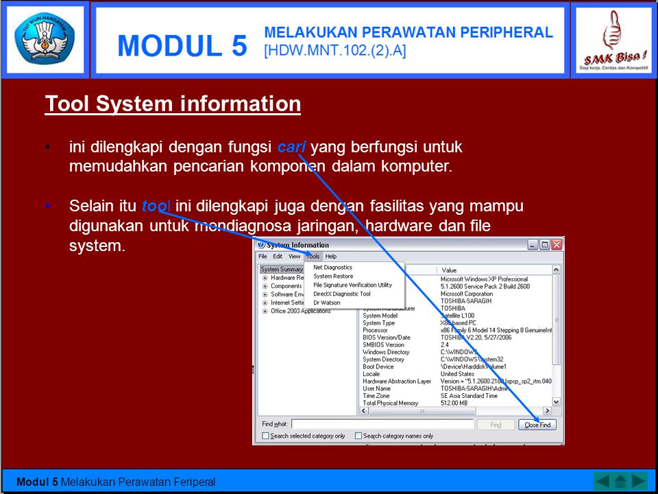 Tool System information