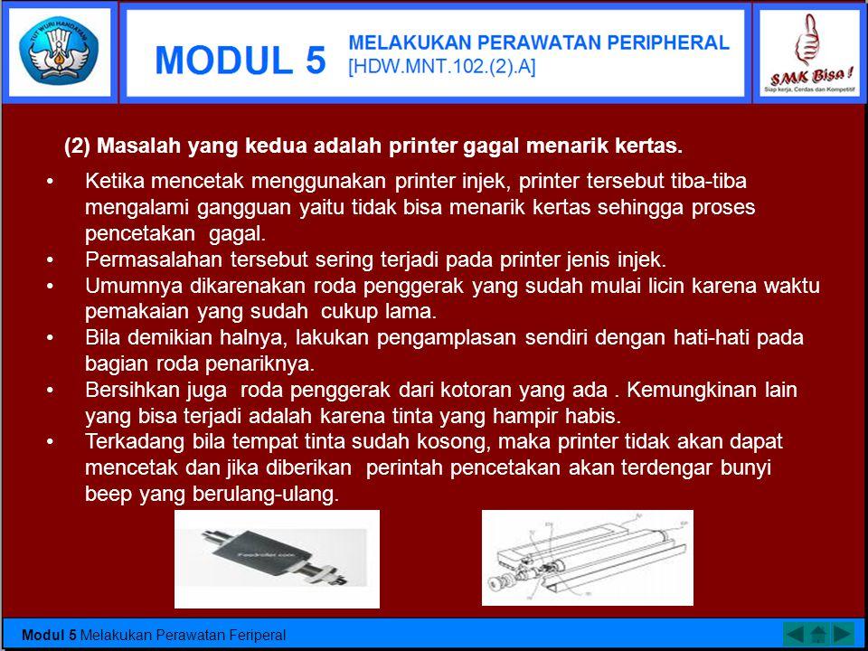 (2) Masalah yang kedua adalah printer gagal menarik kertas.