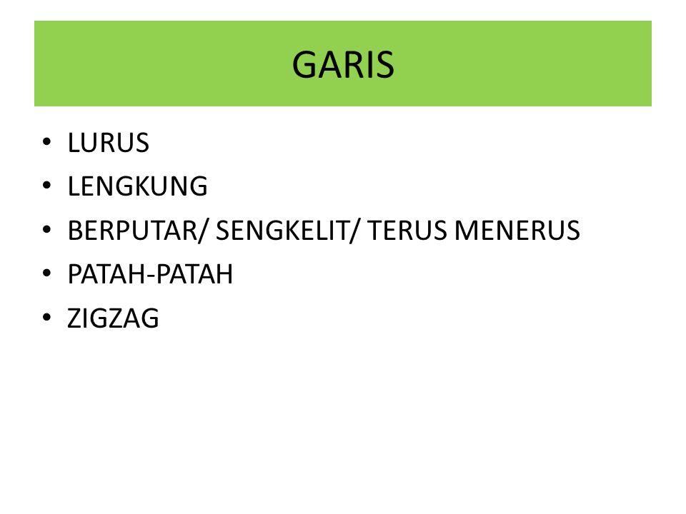 GARIS LURUS LENGKUNG BERPUTAR/ SENGKELIT/ TERUS MENERUS PATAH-PATAH