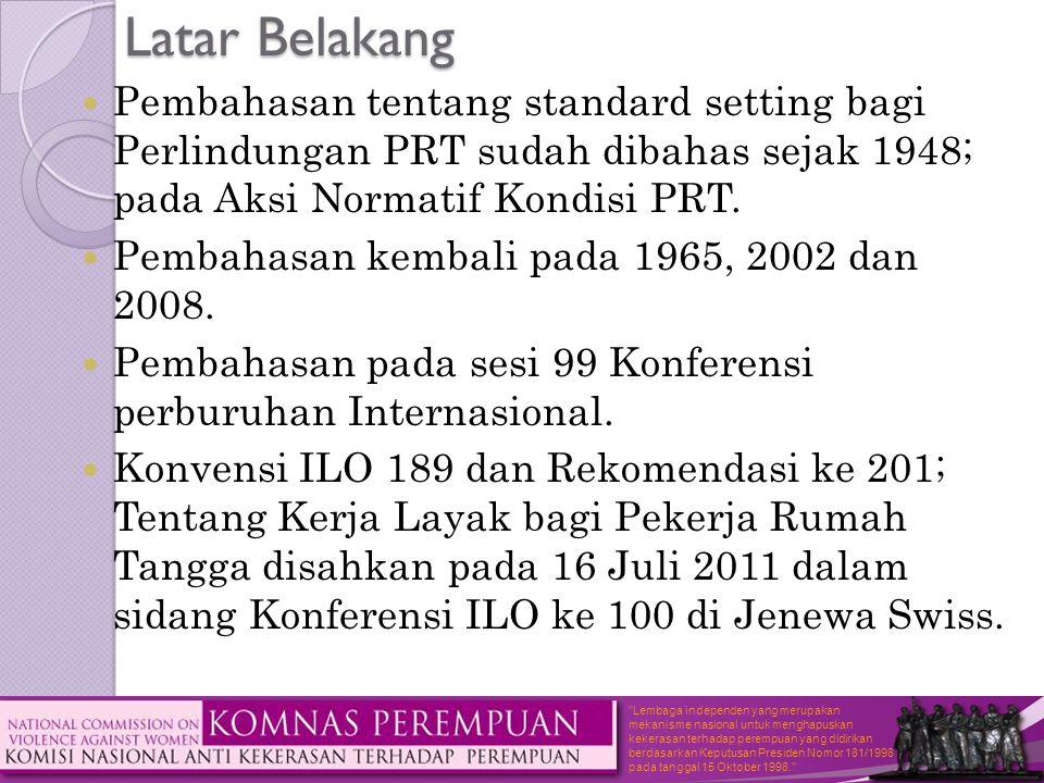 Latar Belakang Pembahasan tentang standard setting bagi Perlindungan PRT sudah dibahas sejak 1948; pada Aksi Normatif Kondisi PRT.