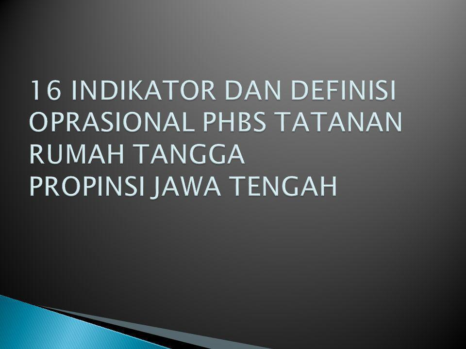 16 INDIKATOR DAN DEFINISI OPRASIONAL PHBS TATANAN RUMAH TANGGA PROPINSI JAWA TENGAH