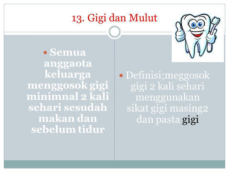 13. Gigi dan Mulut Semua anggaota keluarga menggosok gigi minimnal 2 kali sehari sesudah makan dan sebelum tidur.