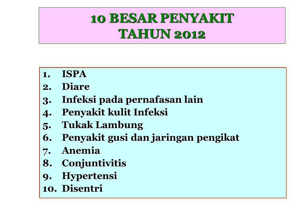 10 BESAR PENYAKIT TAHUN 2012 ISPA Diare Infeksi pada pernafasan lain