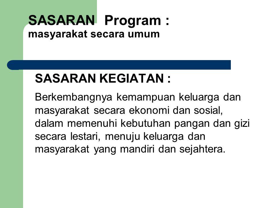 SASARAN Program : masyarakat secara umum
