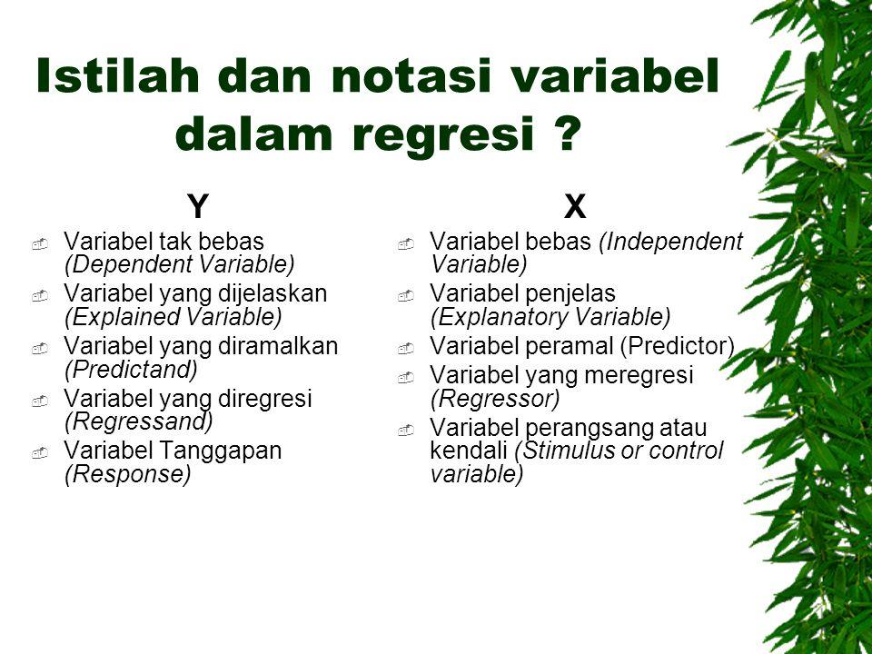Istilah dan notasi variabel dalam regresi
