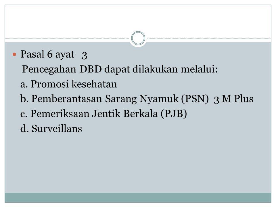 Pasal 6 ayat 3 Pencegahan DBD dapat dilakukan melalui: a. Promosi kesehatan. b. Pemberantasan Sarang Nyamuk (PSN) 3 M Plus.