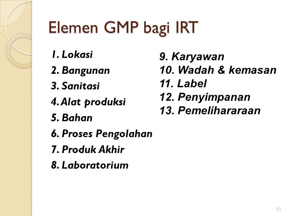 Elemen GMP bagi IRT 1. Lokasi 2. Bangunan 3. Sanitasi 4. Alat produksi 5. Bahan 6. Proses Pengolahan 7. Produk Akhir 8. Laboratorium