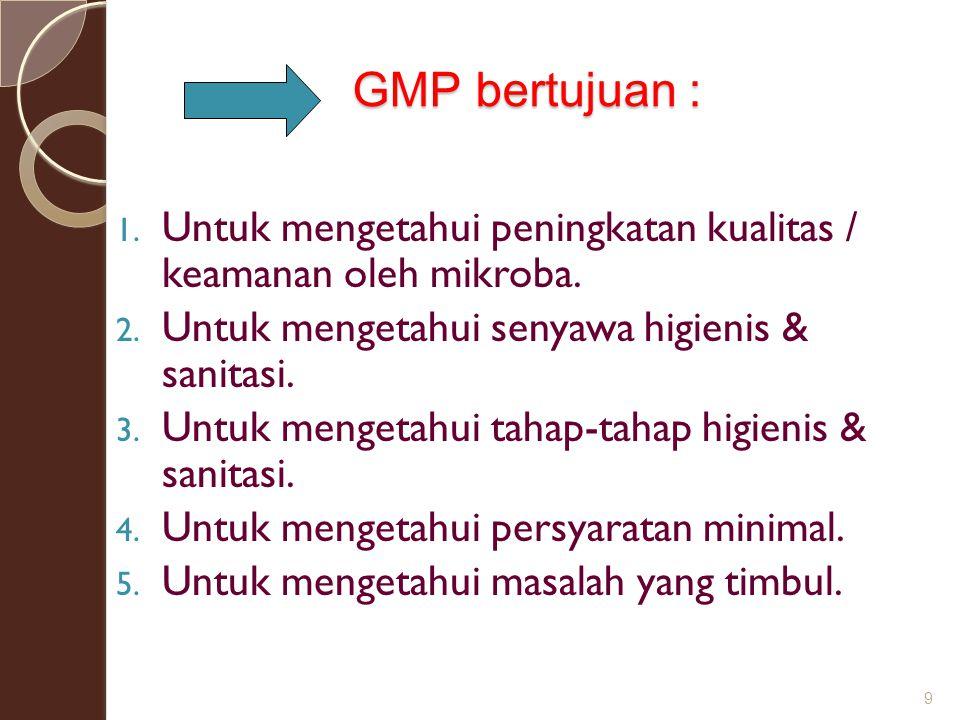 GMP bertujuan : Untuk mengetahui peningkatan kualitas / keamanan oleh mikroba. Untuk mengetahui senyawa higienis & sanitasi.