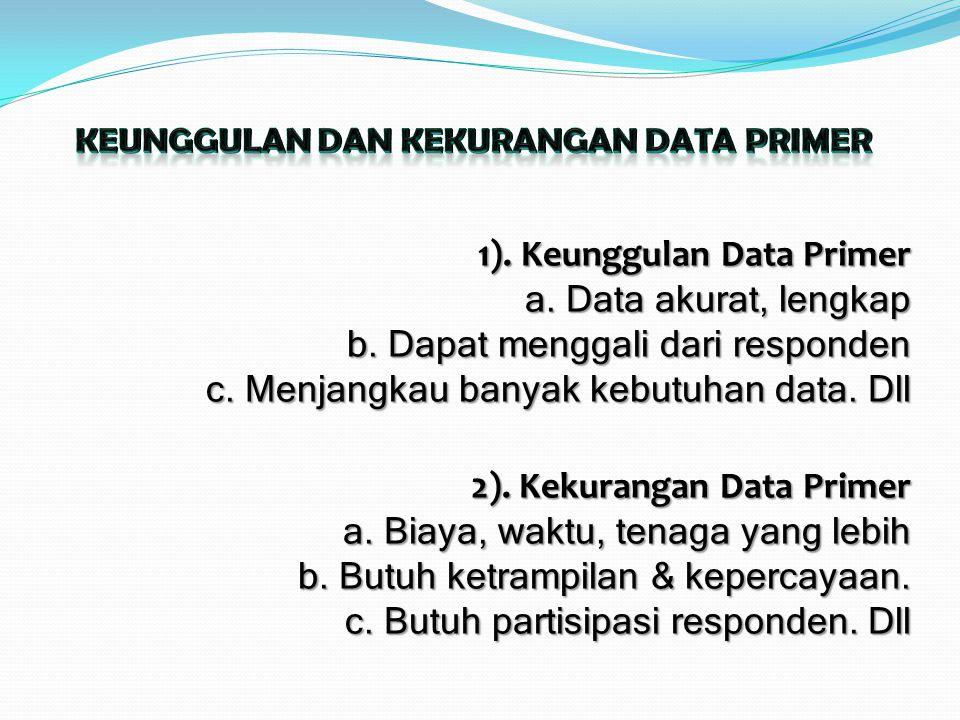 1). Keunggulan Data Primer a. Data akurat, lengkap