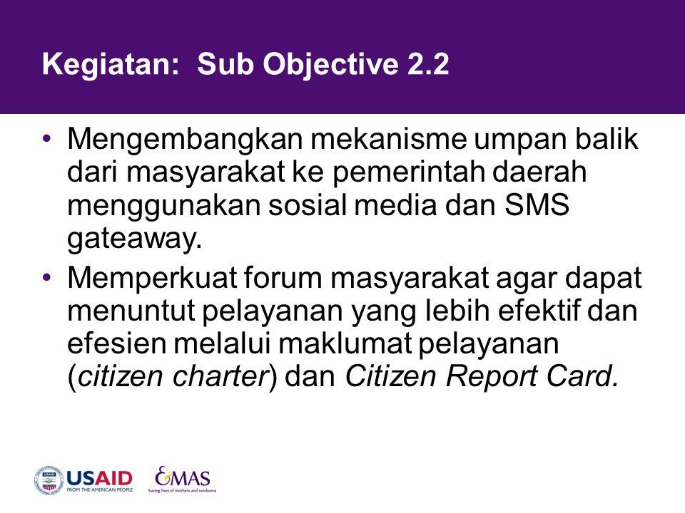 Kegiatan: Sub Objective 2.2