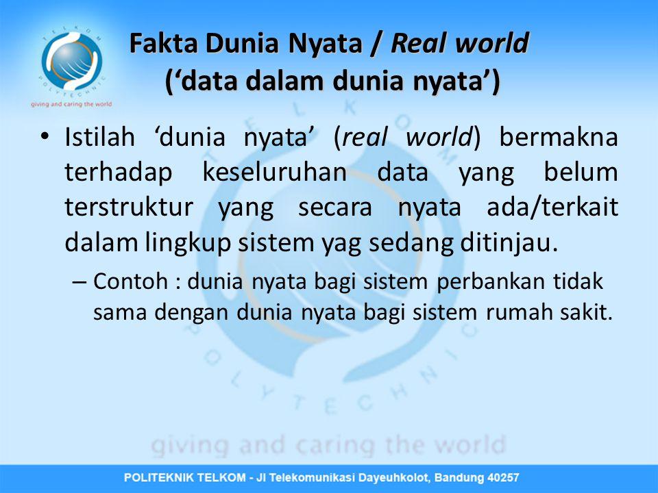 Fakta Dunia Nyata / Real world ('data dalam dunia nyata')