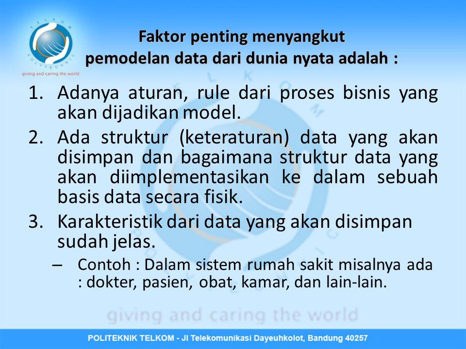 Faktor penting menyangkut pemodelan data dari dunia nyata adalah :