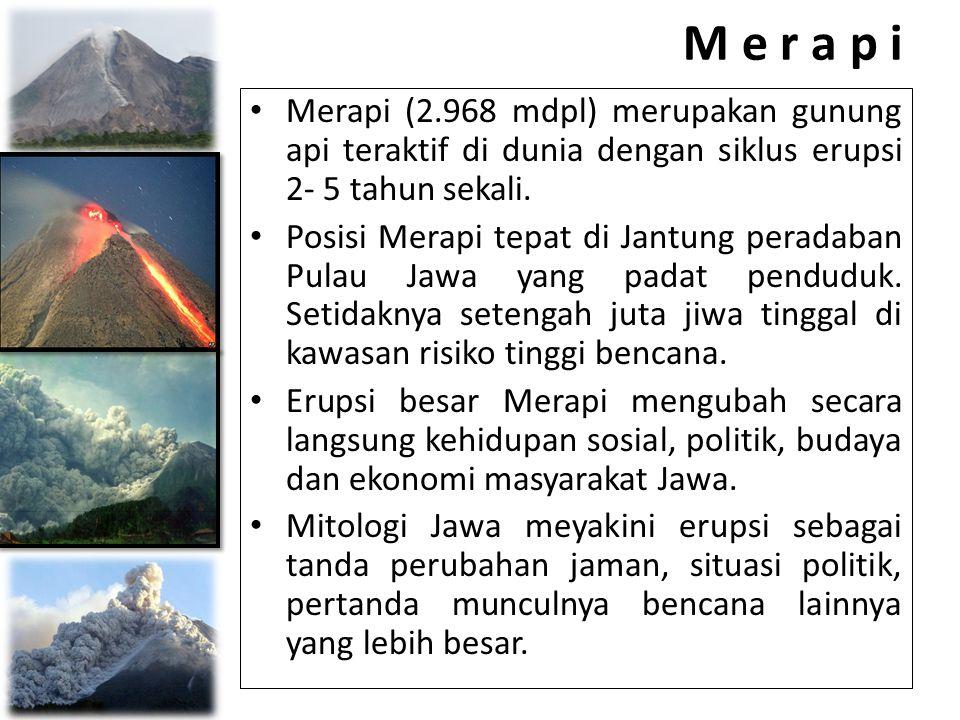 M e r a p i Merapi (2.968 mdpl) merupakan gunung api teraktif di dunia dengan siklus erupsi 2- 5 tahun sekali.