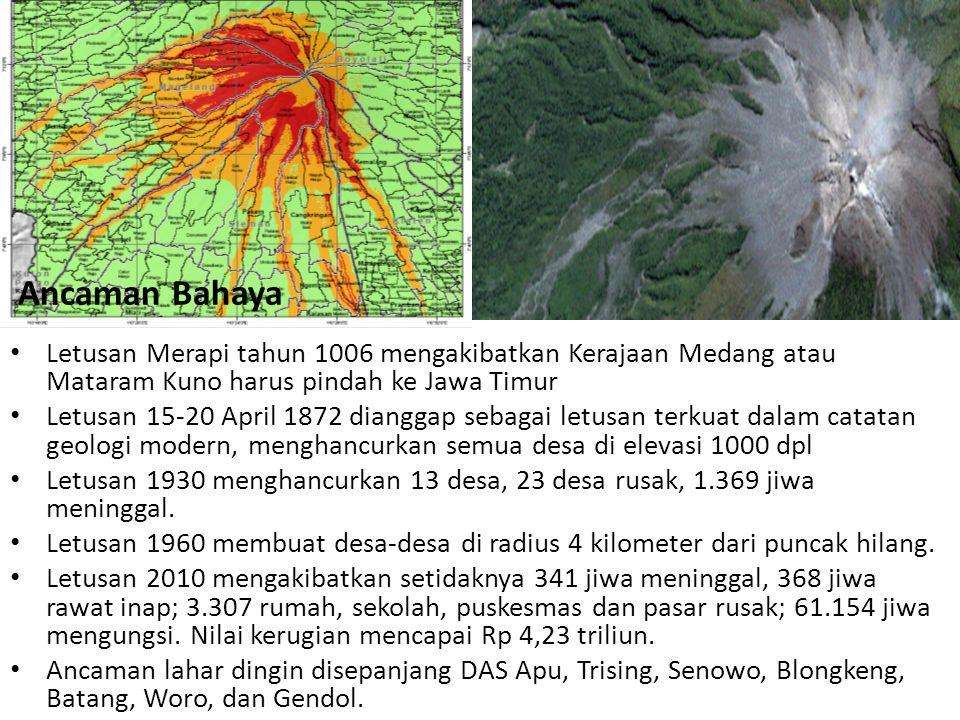 Ancaman Bahaya Letusan Merapi tahun 1006 mengakibatkan Kerajaan Medang atau Mataram Kuno harus pindah ke Jawa Timur.