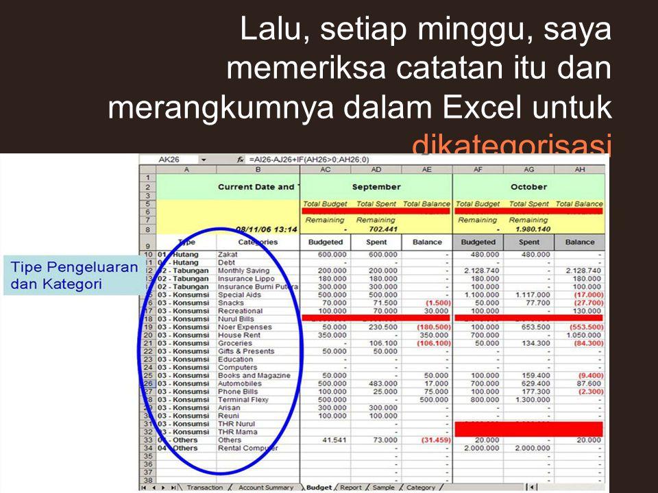 Lalu, setiap minggu, saya memeriksa catatan itu dan merangkumnya dalam Excel untuk dikategorisasi