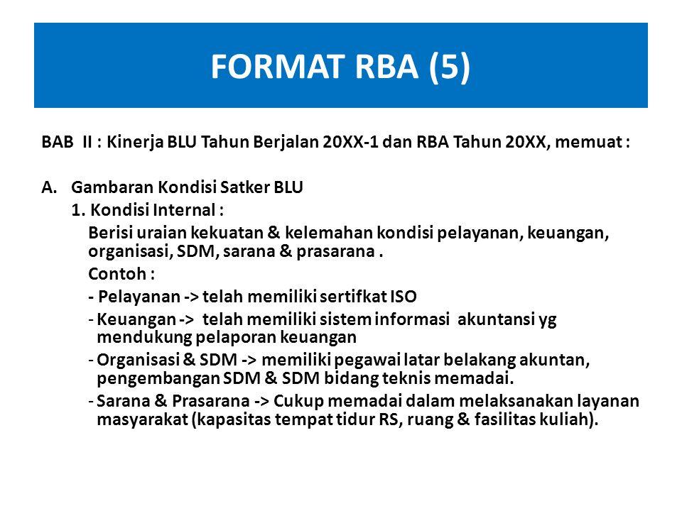 FORMAT RBA (5) BAB II : Kinerja BLU Tahun Berjalan 20XX-1 dan RBA Tahun 20XX, memuat : Gambaran Kondisi Satker BLU.