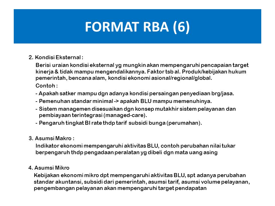 FORMAT RBA (6) 2. Kondisi Eksternal :