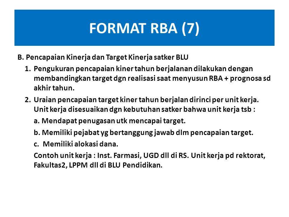 FORMAT RBA (7) B. Pencapaian Kinerja dan Target Kinerja satker BLU